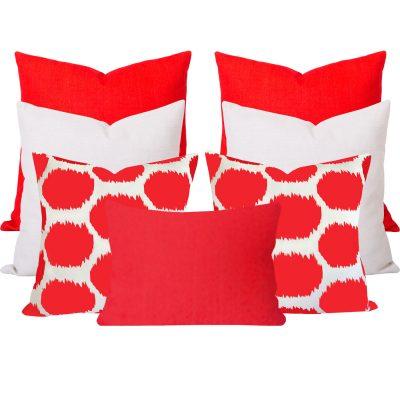 Arzu Orange Ikat 7 Cushion Set