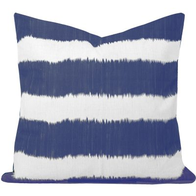 Bayou Blue Ikat Stripe Cushion