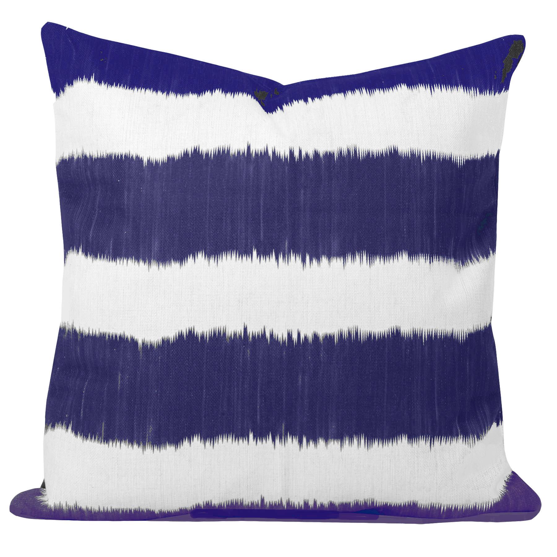 Bayou-Blue-Ikat-Stripe-Cushion