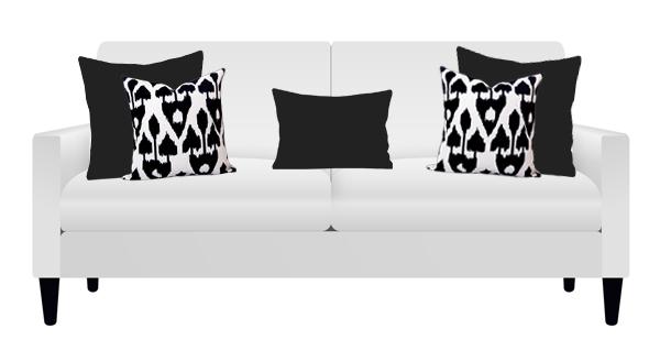 Amare Black Georgia on White Sofa