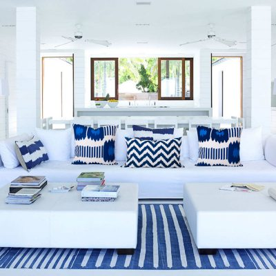Coastal home with Bayou Blue Ikat Cushionsue