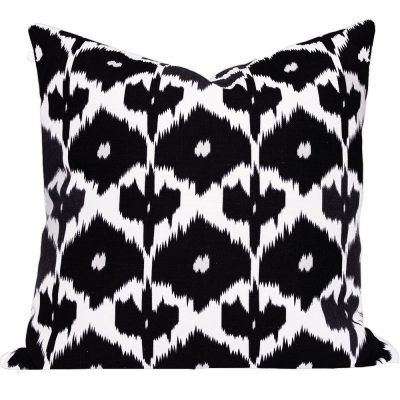 Kristine Black Ikat cushion