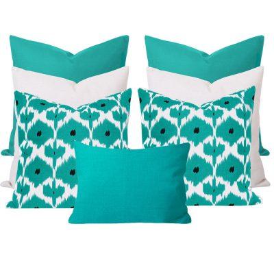 Kristine Georgia Turquoise 7 Cushion Set
