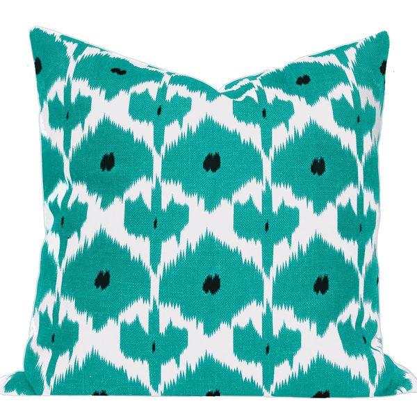 Kristine Turquoise Ikat Cushion