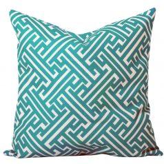 Maze Turquoise Geometric Cushion