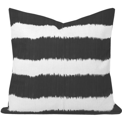 Bayou Black Ikat Stripe Cushion
