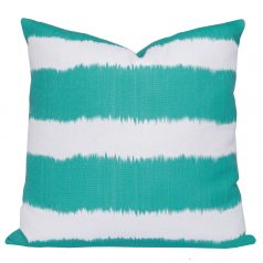Turquoise-Ikat-Stripe-Cushion
