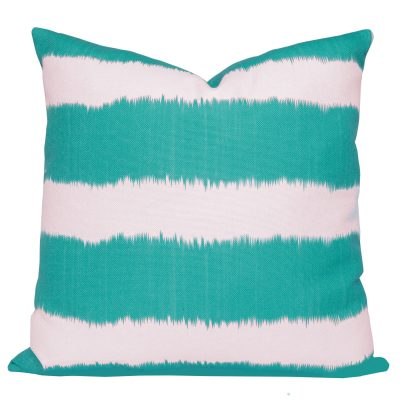 Bayou Turquoise Ikat Stripe Cushion