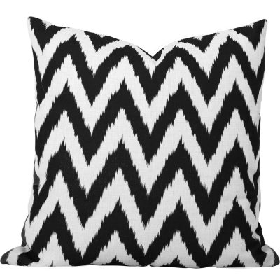 Gaia Black Ikat Chevron cushion