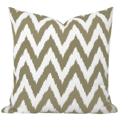Gaia Taupe Ikat Chevron Cushion