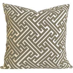 Maze Taupe Geometric Cushion