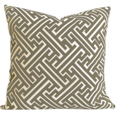 Maze Taupe Geometric Cushion