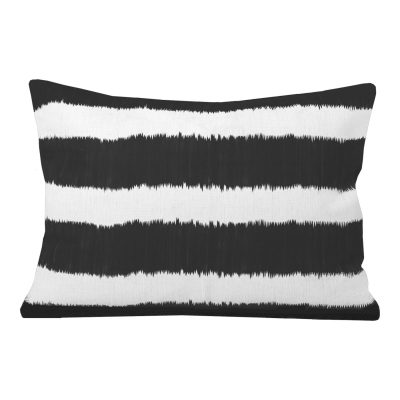 Bayou Black Ikat Stripe Rectangular Cushion