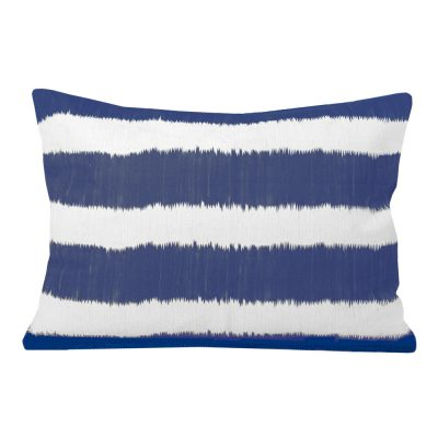 Bayou Blue Ikat Stripe Rectangular Cushion