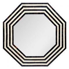 Hexagonal Black and White Stripe Bone INlay Mirror