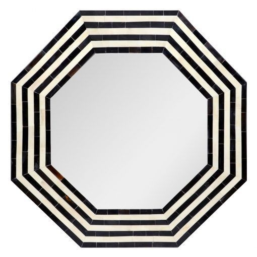 Hexagonal Black and White Stripe Bone INlay Mirror