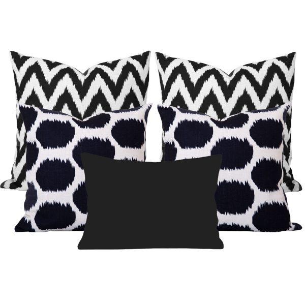 Arzu Gaia Black Ikat 5 Cushion Set