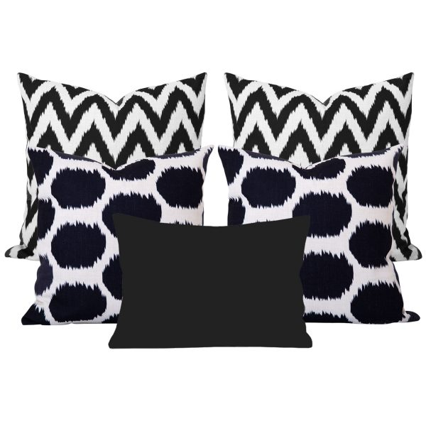 Arzu Gaia Black Ikat Set of 5 Cushions