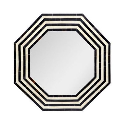 Audrey Black Hexagonal Stripe Mirror