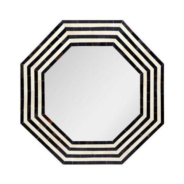 Audrey Black Hexagonal Stripe Mirror