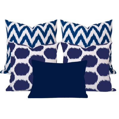 Arzu Gaia Blue Ikat 5 Cushion Set