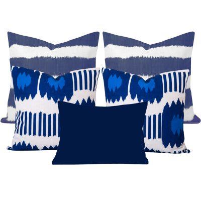 Bayou Blue Ikat 4 Cushion Set