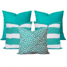 Georgia Bayou Turquoise Set of 5 Cushions
