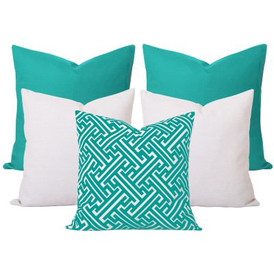 Georgia Maze Turquoise 5 Cushion Set