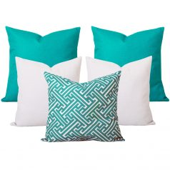Georgia Maze Turquoise Cushion Set of 5