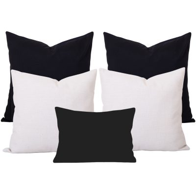 Georgia Plain Black and White Cushion Set of 5