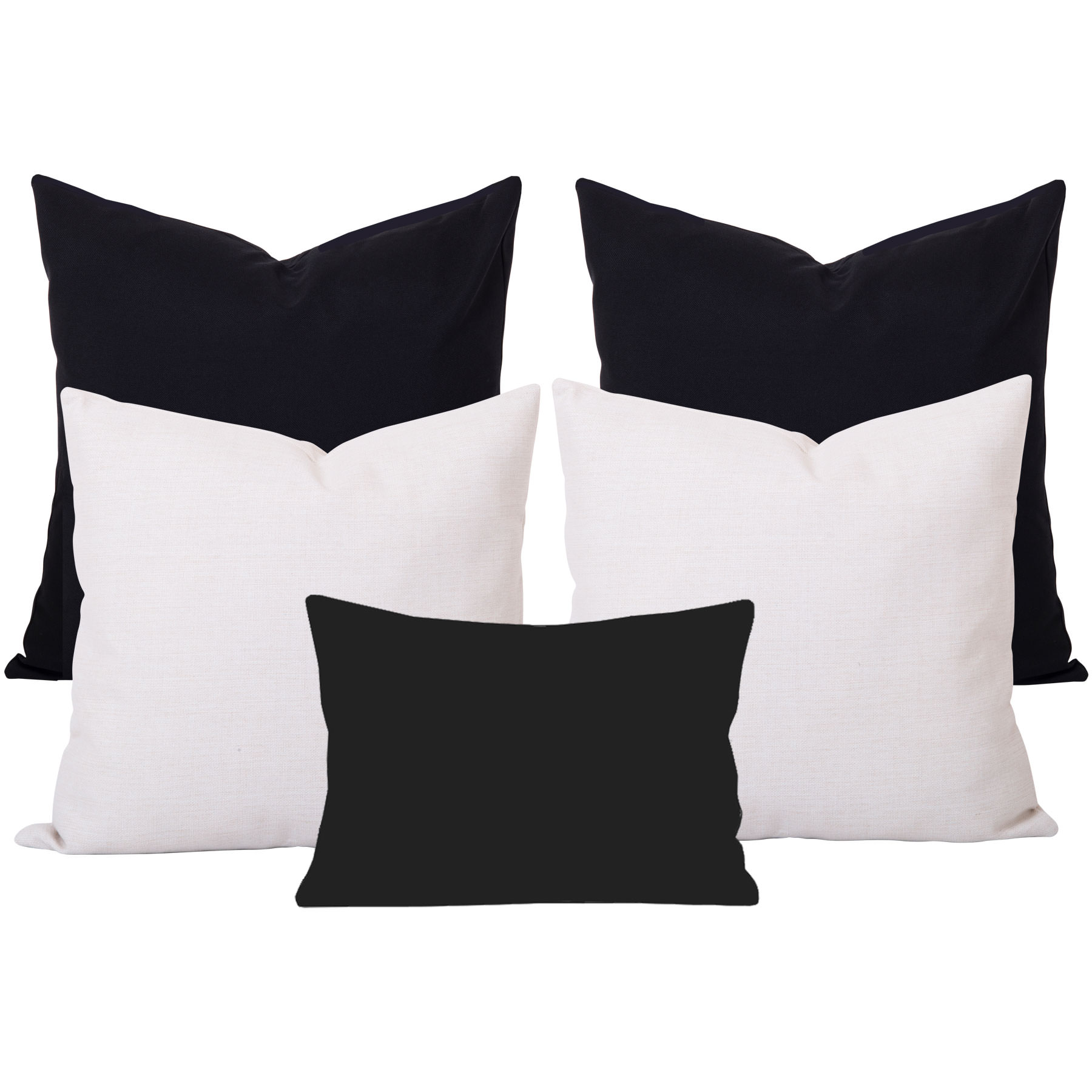Georgia-Plain-Black-and-White-5-Cushion-Set