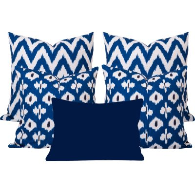 Kristine Gaia Blue Ikat Cushion Set of 5