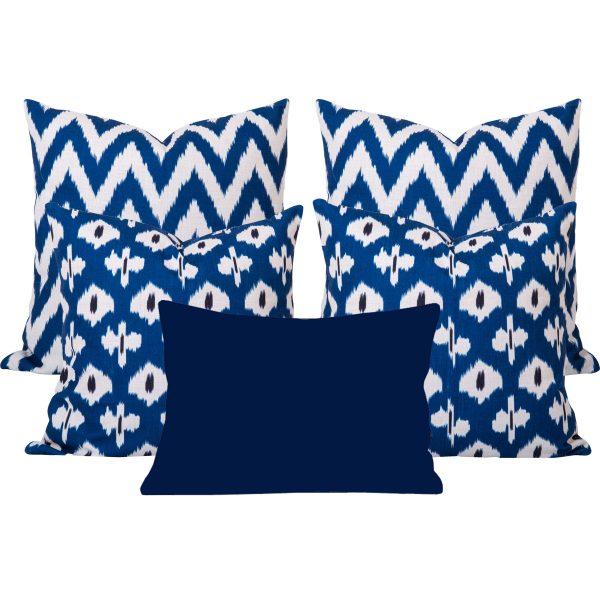 Kristine Gaia Blue Ikat Cushion Set of 5