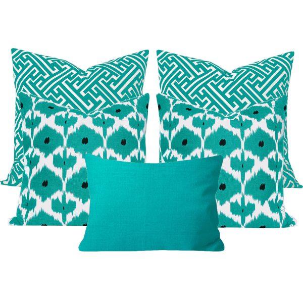 Kristine Maze Turquoise 5 Cushion Set