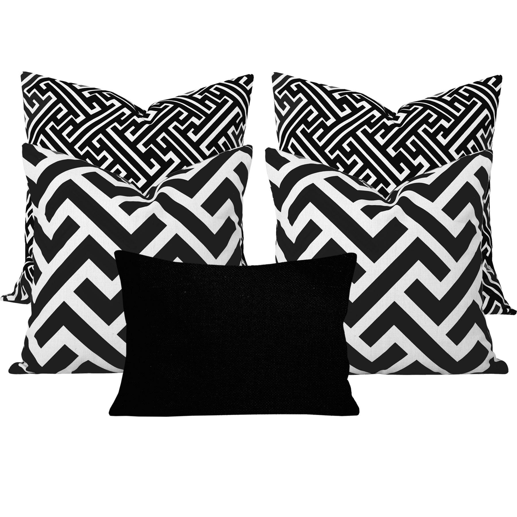 Maze-Zedd-Black-Geometric-5-Cushion-Set
