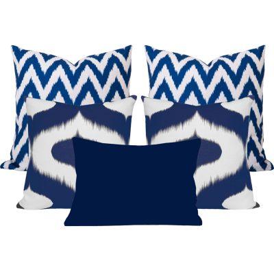 Neveen Gaia Blue Ikat Cushion Set of 5