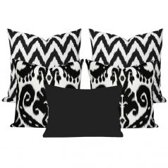 Orient Black Ikat Set of 5 Cushions