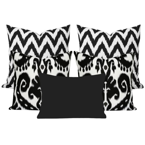 Orient Black Ikat Set of 5 Cushions