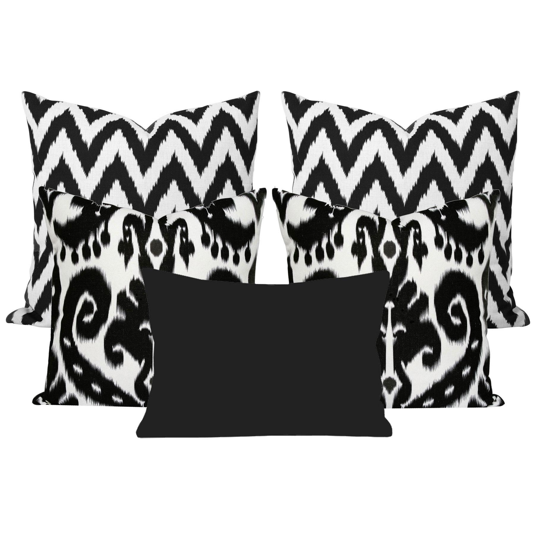 Orient-Black-Ikat-5-Cushion-Set