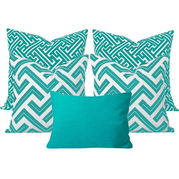 Zedd Maze Turquoise 5 Cushion Set