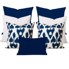 Amare Blue Ikat 7 Cushion Set