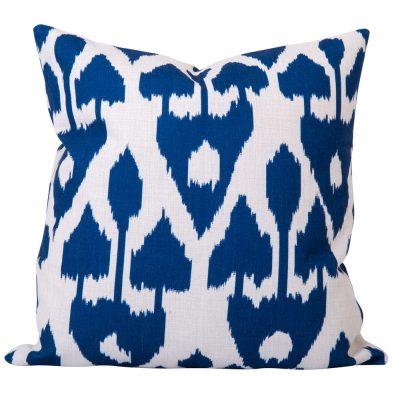 Blue and white tribal ikat cushion
