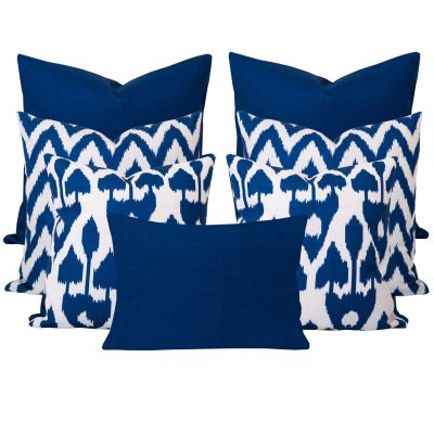 Amare Gaia Blue Ikat 7 Cushion Set