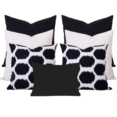Arzu Black Ikat 7 Cushion Set