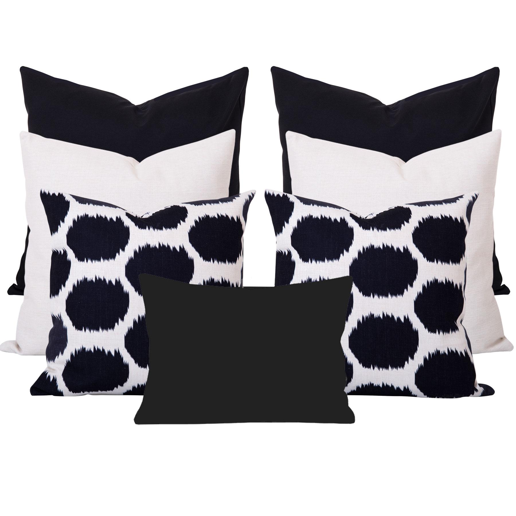 Arzu-Black-Ikat-7-Cushion-Set