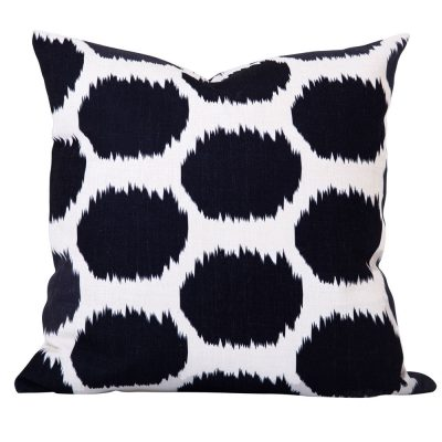 Arzu Black Ikat Dot Cushion