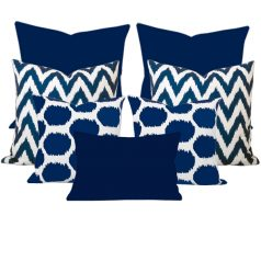 Arzu Gaia Blue Ikat 7 Cushion Set