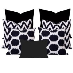Arzu Ikat Black 7 Cushion Set