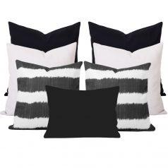 Bayou Black Ikat Stripe 7 Cushion Set