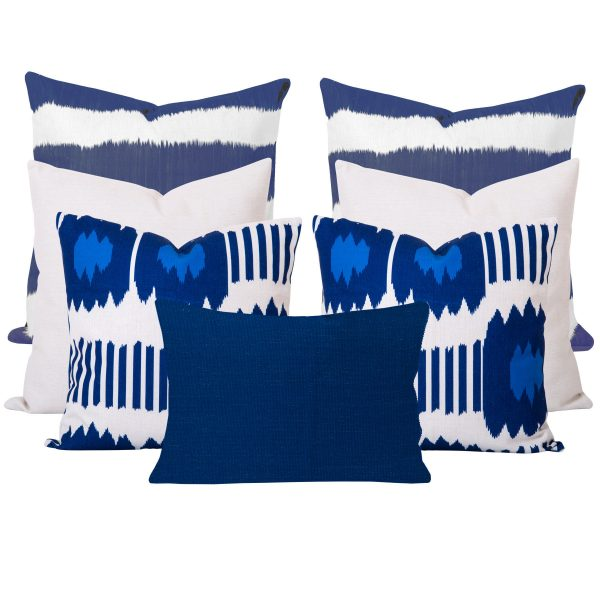 Blue and White Ikat Cushion Set of 7